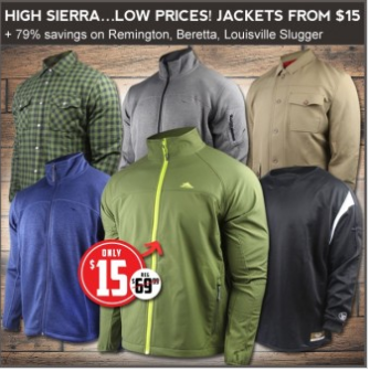 $15 High Sierra Keeler jackets, premium jackets up to 79% off.