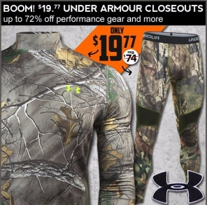 Under Armour baselayers under 20 bucks, 45-72% off sale.
